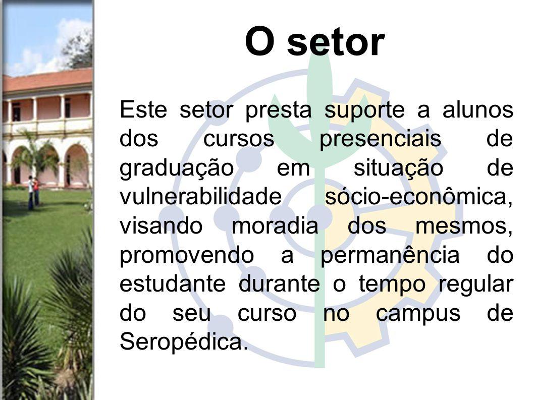 Este setor presta suporte a alunos dos cursos presenciais de graduação em situação de vulnerabilidade sócio-econômica, visando moradia dos mesmos, promovendo a permanência do estudante durante o tempo regular do seu curso no campus de Seropédica.