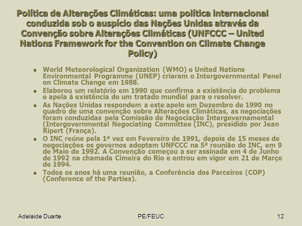 Adelaide DuartePE/FEUC12 Política de Alterações Climáticas: uma política internacional conduzida sob o auspício das Nações Unidas através da Convenção