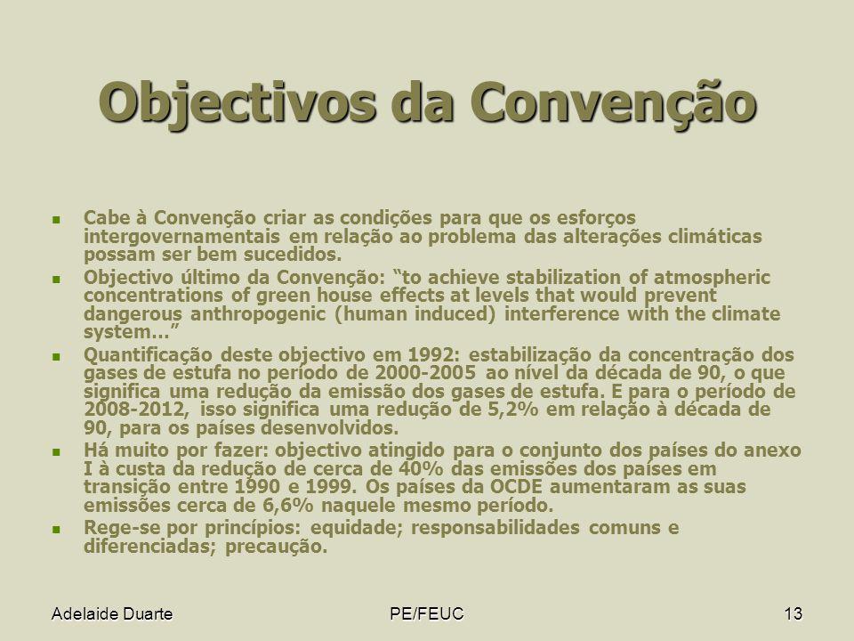 Adelaide DuartePE/FEUC13 Objectivos da Convenção Cabe à Convenção criar as condições para que os esforços intergovernamentais em relação ao problema d