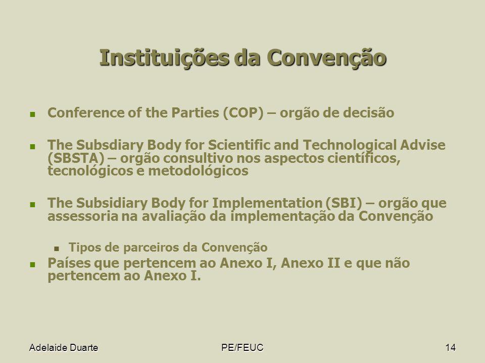 Adelaide DuartePE/FEUC14 Instituições da Convenção Conference of the Parties (COP) – orgão de decisão The Subsdiary Body for Scientific and Technologi