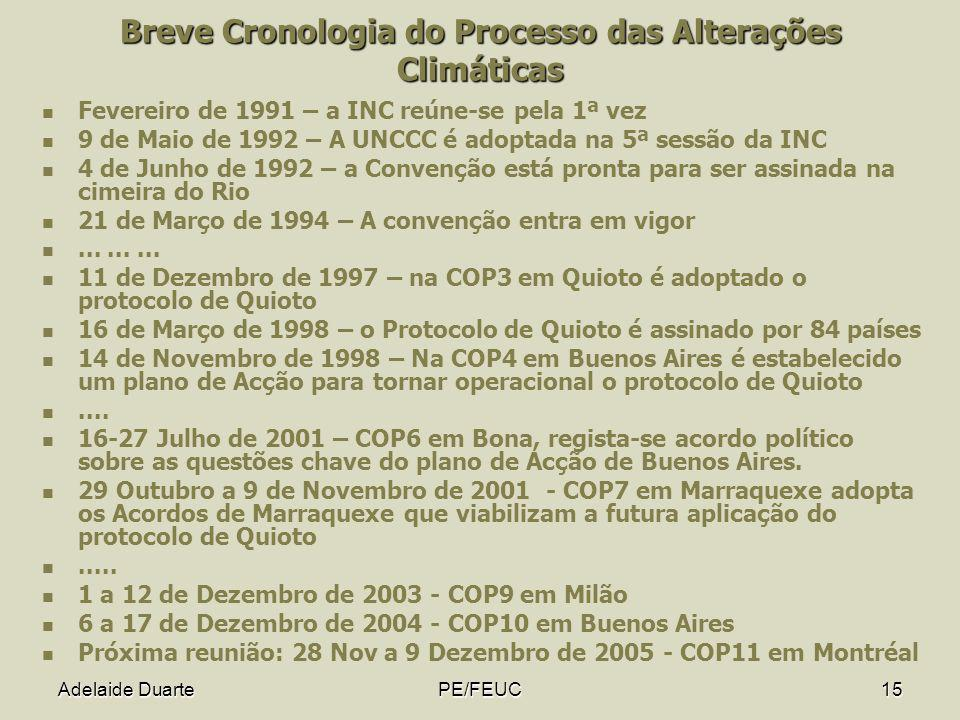 Adelaide DuartePE/FEUC15 Breve Cronologia do Processo das Alterações Climáticas Fevereiro de 1991 – a INC reúne-se pela 1ª vez 9 de Maio de 1992 – A U