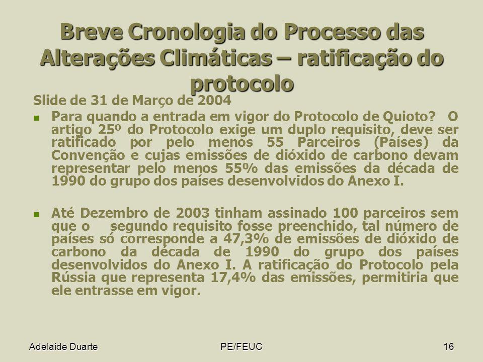 Adelaide DuartePE/FEUC16 Breve Cronologia do Processo das Alterações Climáticas – ratificação do protocolo Slide de 31 de Março de 2004 Para quando a