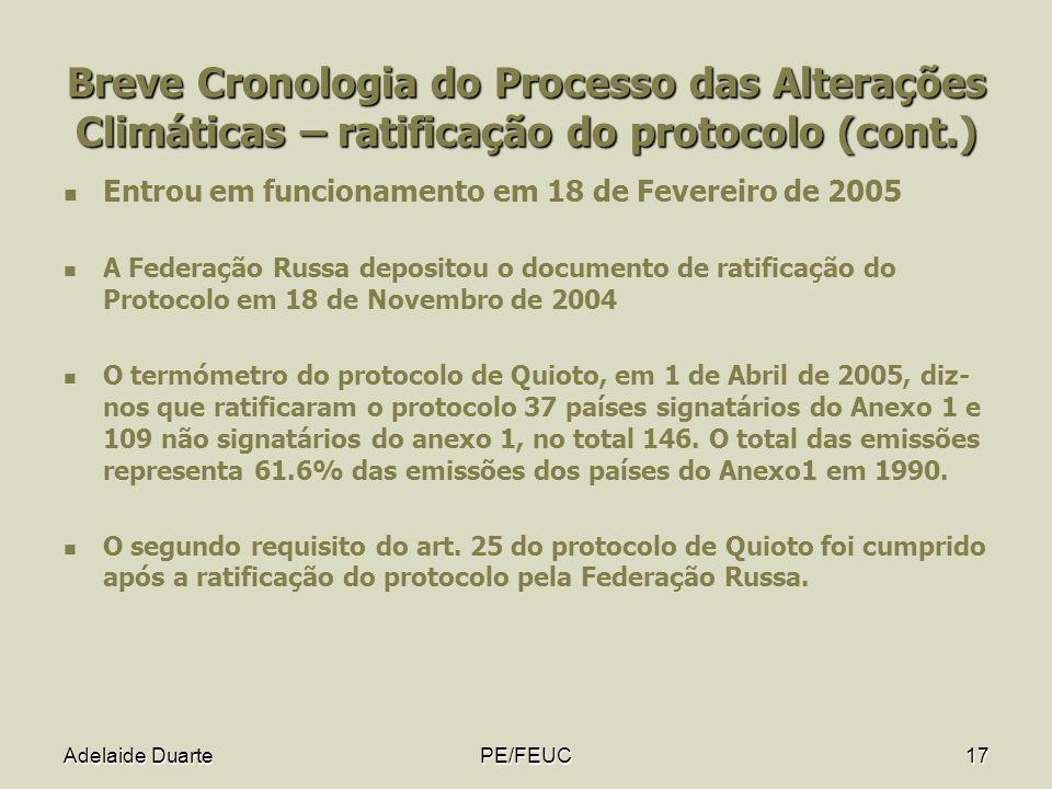 Adelaide DuartePE/FEUC17 Breve Cronologia do Processo das Alterações Climáticas – ratificação do protocolo (cont.) Entrou em funcionamento em 18 de Fe
