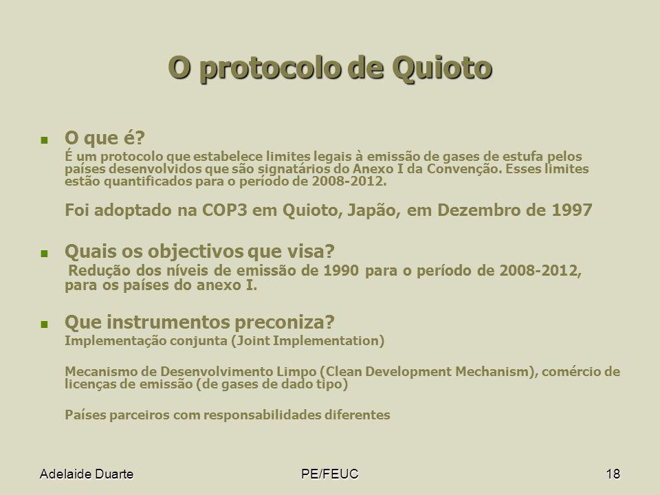 Adelaide DuartePE/FEUC18 O protocolo de Quioto O que é? É um protocolo que estabelece limites legais à emissão de gases de estufa pelos países desenvo
