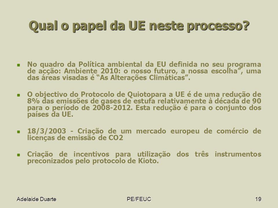Adelaide DuartePE/FEUC19 Qual o papel da UE neste processo? No quadro da Política ambiental da EU definida no seu programa de acção: Ambiente 2010: o