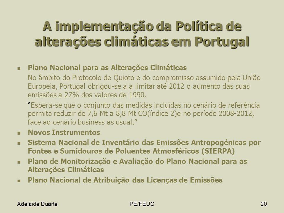 Adelaide DuartePE/FEUC20 A implementação da Política de alterações climáticas em Portugal Plano Nacional para as Alterações Climáticas No âmbito do Pr