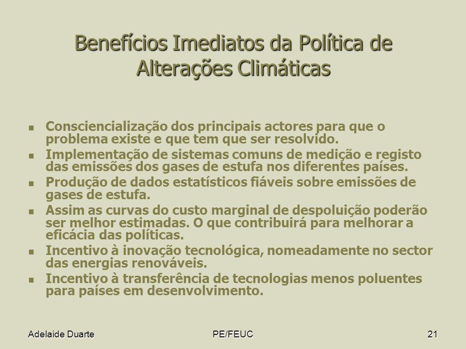 Adelaide DuartePE/FEUC21 Benefícios Imediatos da Política de Alterações Climáticas Consciencialização dos principais actores para que o problema exist