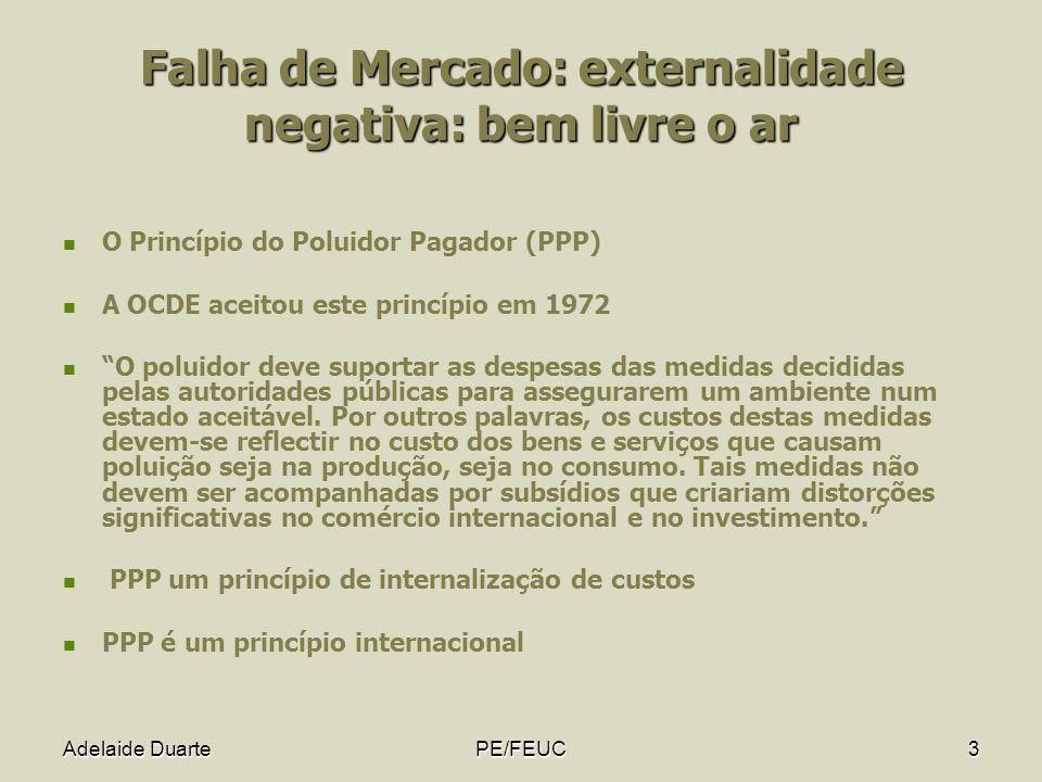 Adelaide DuartePE/FEUC3 Falha de Mercado: externalidade negativa: bem livre o ar O Princípio do Poluidor Pagador (PPP) A OCDE aceitou este princípio e