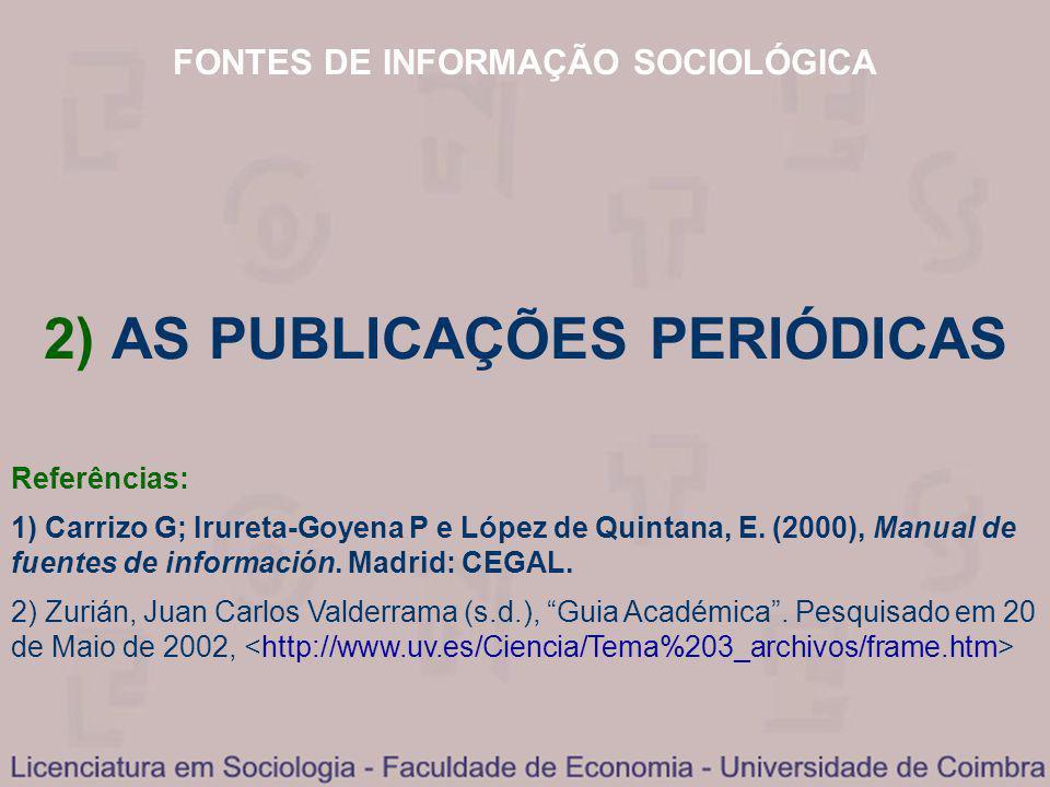 FONTES DE INFORMAÇÃO SOCIOLÓGICA 2) AS PUBLICAÇÕES PERIÓDICAS Referências: 1) Carrizo G; Irureta-Goyena P e López de Quintana, E. (2000), Manual de fu