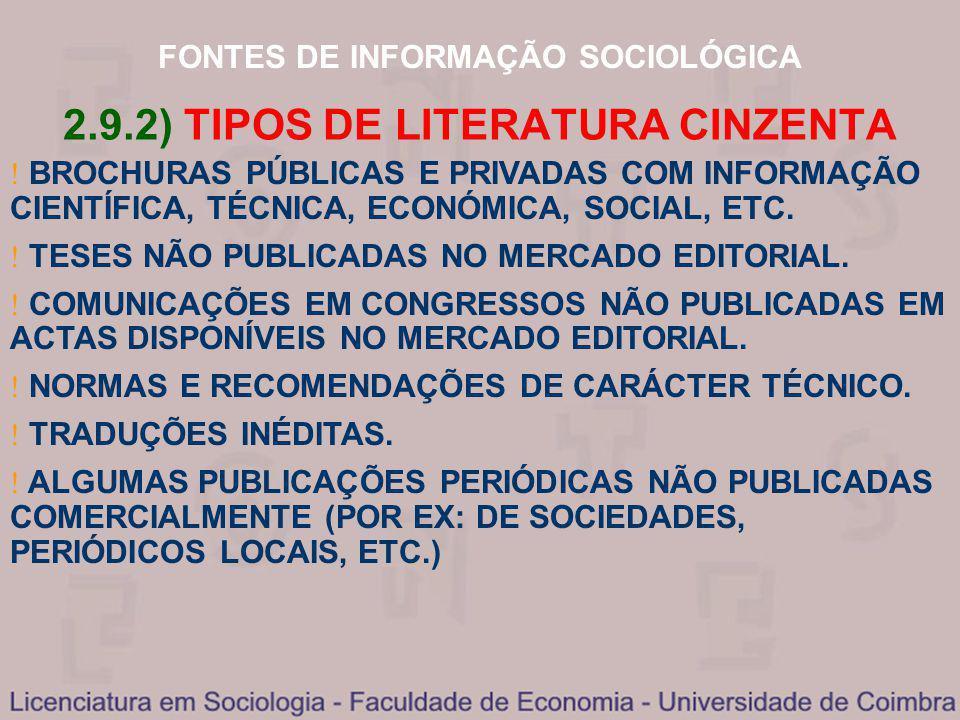 FONTES DE INFORMAÇÃO SOCIOLÓGICA 2.9.2) TIPOS DE LITERATURA CINZENTA BROCHURAS PÚBLICAS E PRIVADAS COM INFORMAÇÃO CIENTÍFICA, TÉCNICA, ECONÓMICA, SOCI