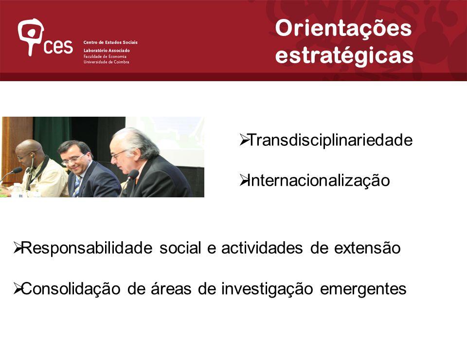 Transdisciplinariedade Internacionalização Orientações estratégicas Responsabilidade social e actividades de extensão Consolidação de áreas de investigação emergentes