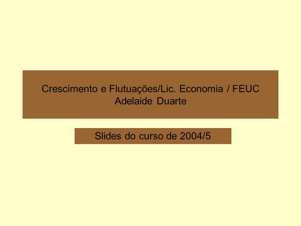 Adelaide Duarte12 Anexo 5 – Modelos AK com e sem dinâmica de ajustamento Crescimento endógeno (modelo AK sem dinâmica de transição) Crescimento endógeno (modelo AK com dinâmica de transição) sA n+ >0 k sA n+ >0 sf(k)/k k