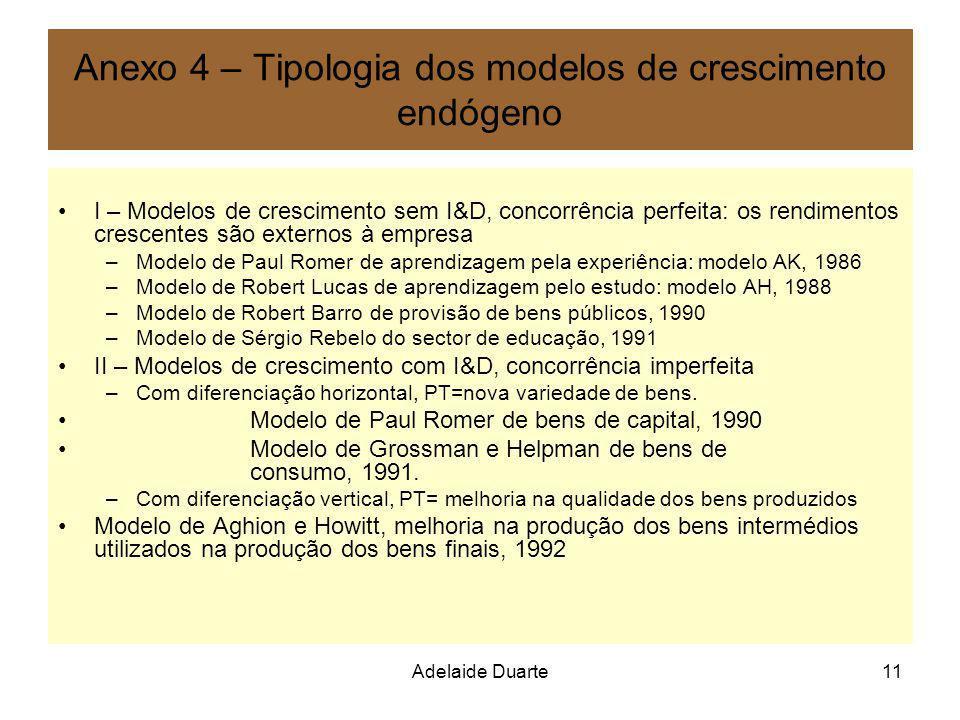 Adelaide Duarte11 Anexo 4 – Tipologia dos modelos de crescimento endógeno I – Modelos de crescimento sem I&D, concorrência perfeita: os rendimentos cr