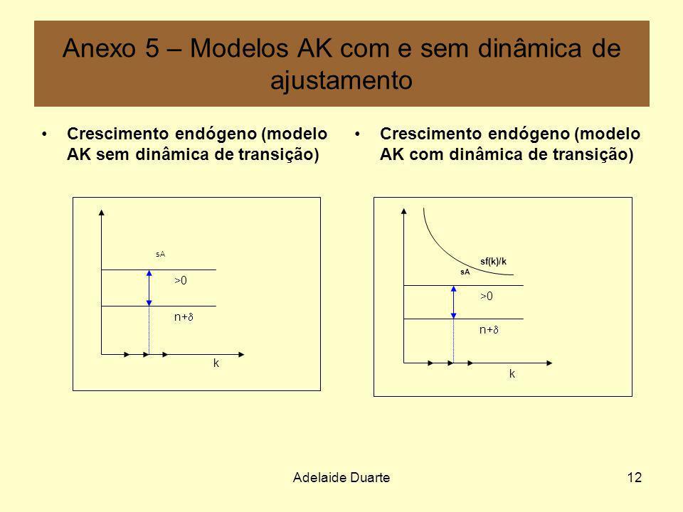 Adelaide Duarte12 Anexo 5 – Modelos AK com e sem dinâmica de ajustamento Crescimento endógeno (modelo AK sem dinâmica de transição) Crescimento endóge