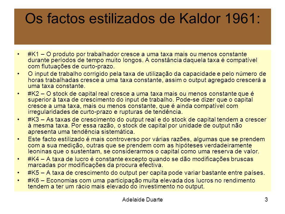 Adelaide Duarte3 Os factos estilizados de Kaldor 1961: #K1 – O produto por trabalhador cresce a uma taxa mais ou menos constante durante períodos de t