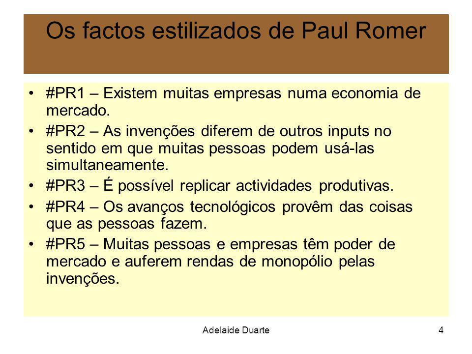 Adelaide Duarte4 Os factos estilizados de Paul Romer #PR1 – Existem muitas empresas numa economia de mercado. #PR2 – As invenções diferem de outros in