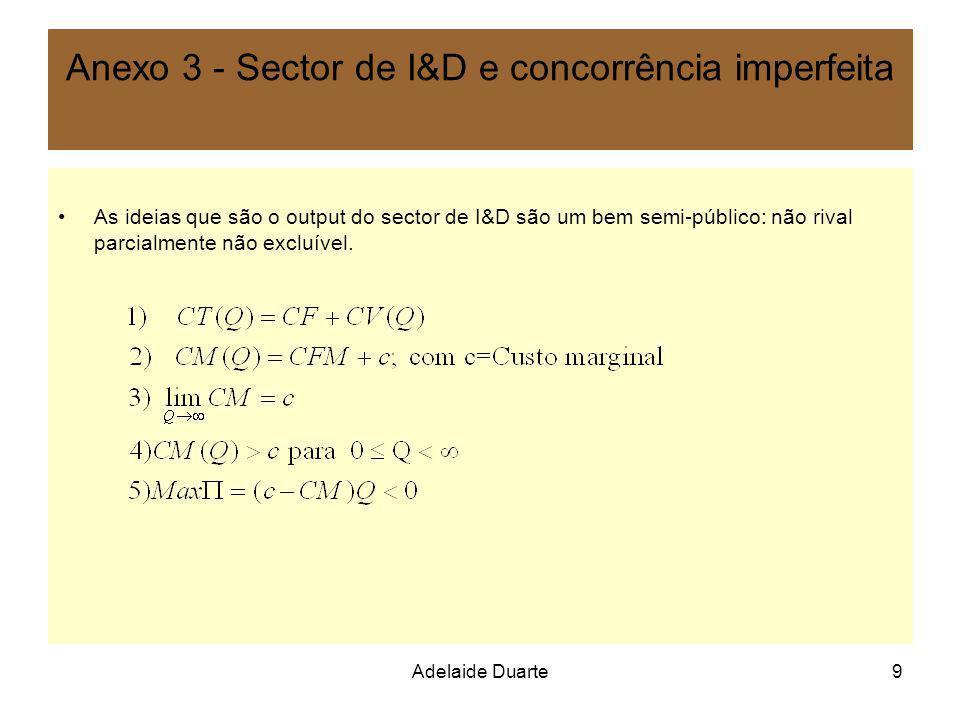 Adelaide Duarte9 Anexo 3 - Sector de I&D e concorrência imperfeita As ideias que são o output do sector de I&D são um bem semi-público: não rival parc