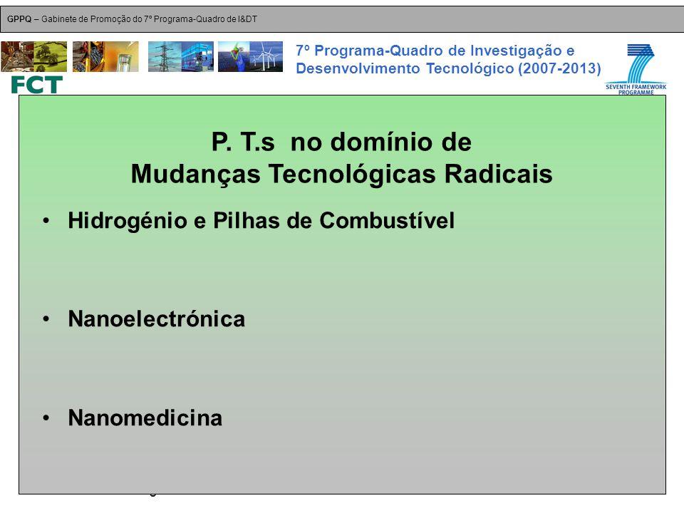 18-Dez-2007 Plataformas Tecnológicas GPPQ – Gabinete de Promoção do 7º Programa-Quadro de I&DT 7º Programa-Quadro de Investigação e Desenvolvimento Tecnológico (2007-2013) Hidrogénio e Pilhas de Combustível Nanoelectrónica Nanomedicina P.