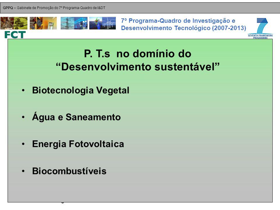 18-Dez-2007 Plataformas Tecnológicas GPPQ – Gabinete de Promoção do 7º Programa-Quadro de I&DT 7º Programa-Quadro de Investigação e Desenvolvimento Tecnológico (2007-2013) Biotecnologia Vegetal Água e Saneamento Energia Fotovoltaica Biocombustíveis P.
