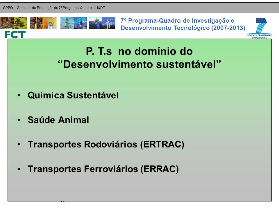 18-Dez-2007 Plataformas Tecnológicas GPPQ – Gabinete de Promoção do 7º Programa-Quadro de I&DT 7º Programa-Quadro de Investigação e Desenvolvimento Tecnológico (2007-2013) Química Sustentável Saúde Animal Transportes Rodoviários (ERTRAC) Transportes Ferroviários (ERRAC) P.
