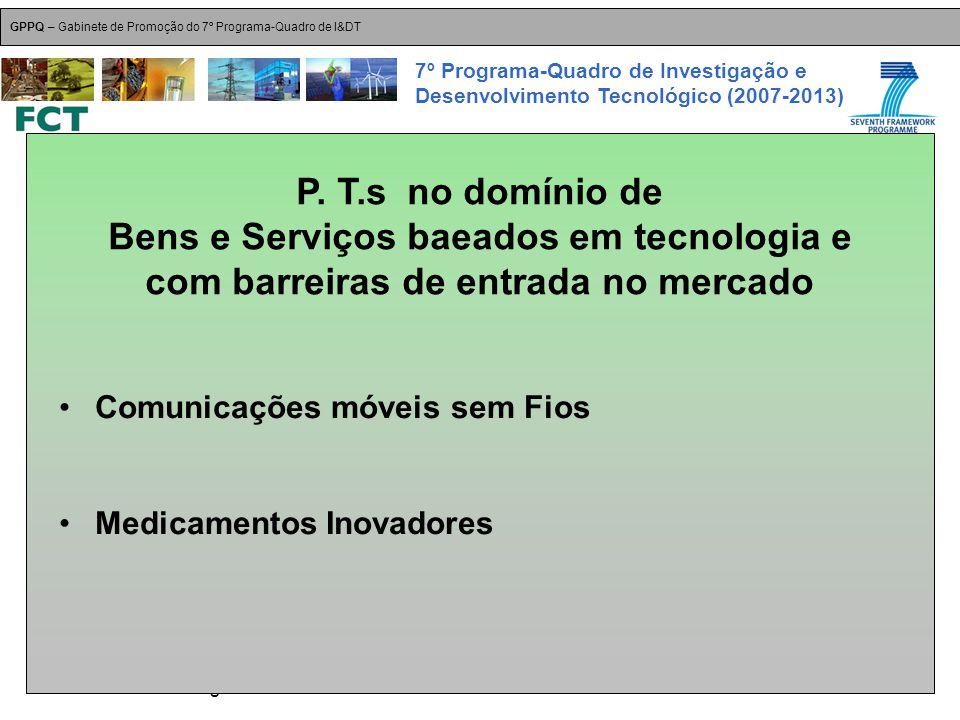 18-Dez-2007 Plataformas Tecnológicas GPPQ – Gabinete de Promoção do 7º Programa-Quadro de I&DT 7º Programa-Quadro de Investigação e Desenvolvimento Tecnológico (2007-2013) Comunicações móveis sem Fios Medicamentos Inovadores P.