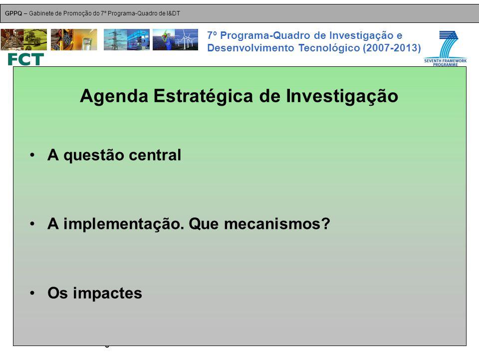 18-Dez-2007 Plataformas Tecnológicas GPPQ – Gabinete de Promoção do 7º Programa-Quadro de I&DT 7º Programa-Quadro de Investigação e Desenvolvimento Tecnológico (2007-2013) A questão central A implementação.