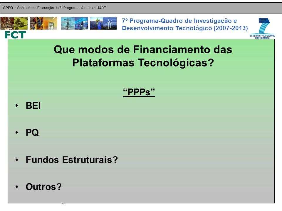 18-Dez-2007 Plataformas Tecnológicas GPPQ – Gabinete de Promoção do 7º Programa-Quadro de I&DT 7º Programa-Quadro de Investigação e Desenvolvimento Tecnológico (2007-2013) PPPs BEI PQ Fundos Estruturais.