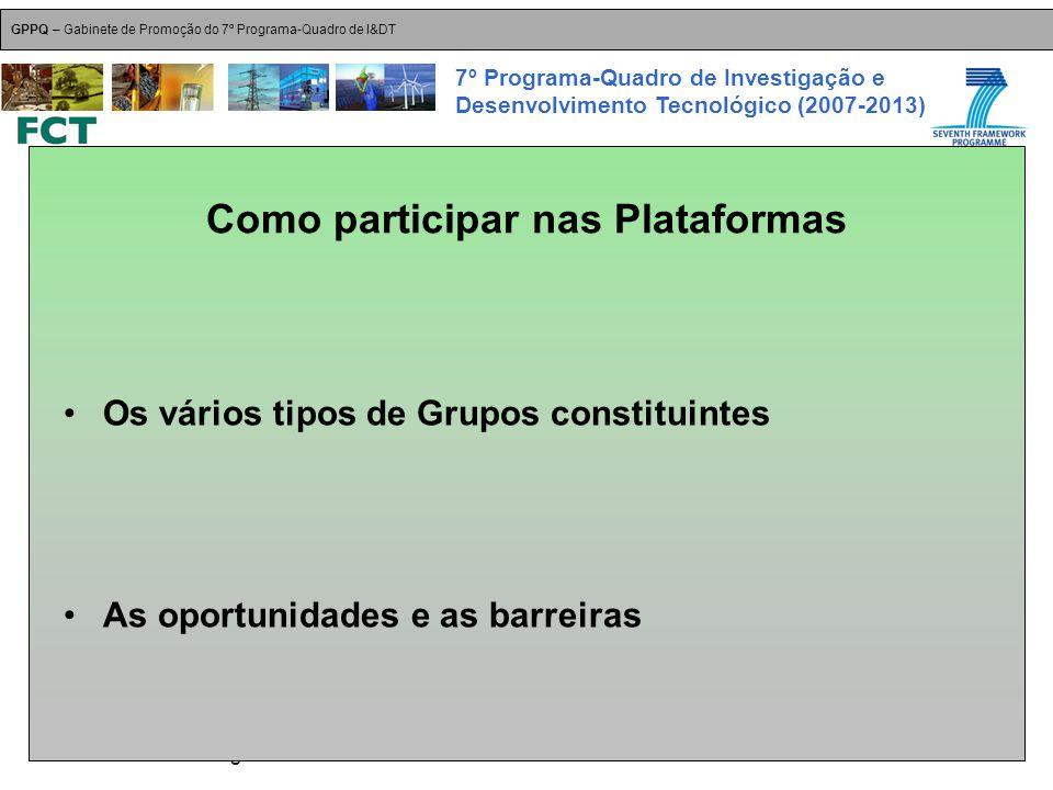 18-Dez-2007 Plataformas Tecnológicas GPPQ – Gabinete de Promoção do 7º Programa-Quadro de I&DT 7º Programa-Quadro de Investigação e Desenvolvimento Tecnológico (2007-2013) Como participar nas Plataformas Os vários tipos de Grupos constituintes As oportunidades e as barreiras