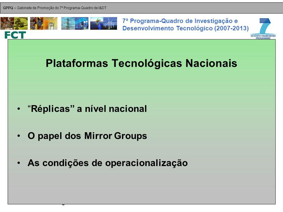18-Dez-2007 Plataformas Tecnológicas GPPQ – Gabinete de Promoção do 7º Programa-Quadro de I&DT 7º Programa-Quadro de Investigação e Desenvolvimento Tecnológico (2007-2013) Plataformas Tecnológicas Nacionais Réplicas a nível nacional O papel dos Mirror Groups As condições de operacionalização
