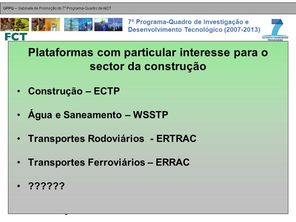 18-Dez-2007 Plataformas Tecnológicas GPPQ – Gabinete de Promoção do 7º Programa-Quadro de I&DT 7º Programa-Quadro de Investigação e Desenvolvimento Tecnológico (2007-2013) Plataformas com particular interesse para o sector da construção Construção – ECTP Água e Saneamento – WSSTP Transportes Rodoviários - ERTRAC Transportes Ferroviários – ERRAC