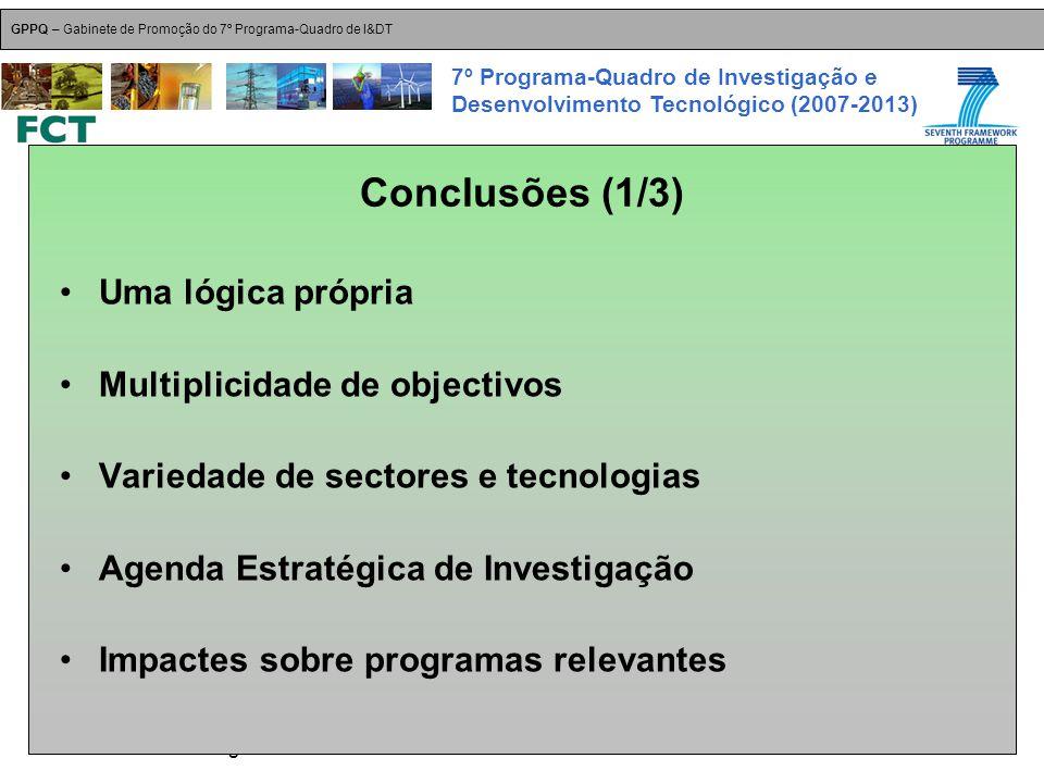 18-Dez-2007 Plataformas Tecnológicas GPPQ – Gabinete de Promoção do 7º Programa-Quadro de I&DT 7º Programa-Quadro de Investigação e Desenvolvimento Tecnológico (2007-2013) Conclusões (1/3) Uma lógica própria Multiplicidade de objectivos Variedade de sectores e tecnologias Agenda Estratégica de Investigação Impactes sobre programas relevantes