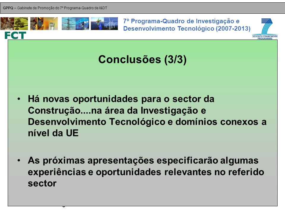 18-Dez-2007 Plataformas Tecnológicas GPPQ – Gabinete de Promoção do 7º Programa-Quadro de I&DT 7º Programa-Quadro de Investigação e Desenvolvimento Tecnológico (2007-2013) Há novas oportunidades para o sector da Construção....na área da Investigação e Desenvolvimento Tecnológico e domínios conexos a nível da UE As próximas apresentações especificarão algumas experiências e oportunidades relevantes no referido sector Conclusões (3/3)
