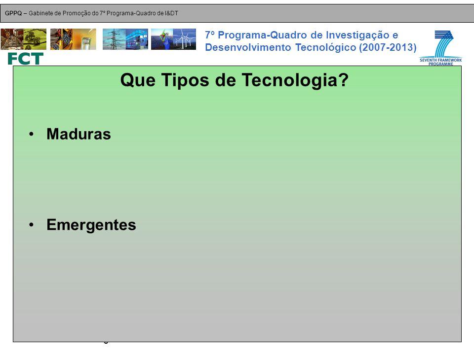 18-Dez-2007 Plataformas Tecnológicas GPPQ – Gabinete de Promoção do 7º Programa-Quadro de I&DT 7º Programa-Quadro de Investigação e Desenvolvimento Tecnológico (2007-2013) Maduras Emergentes Que Tipos de Tecnologia