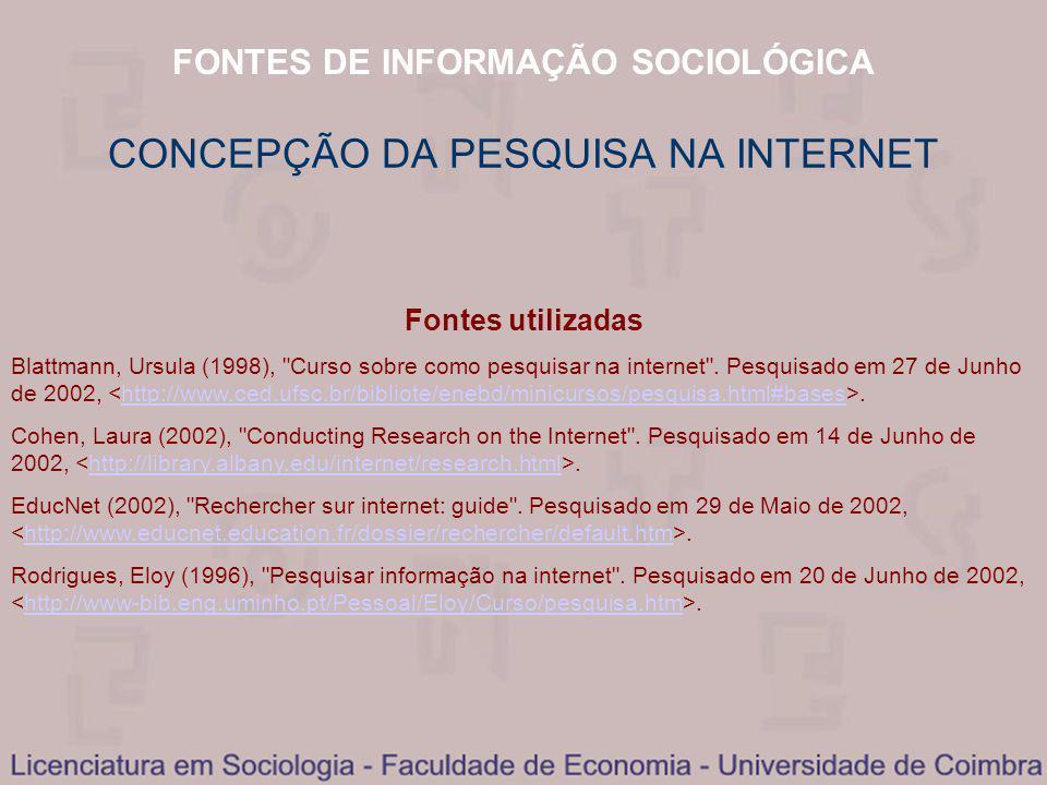 FONTES DE INFORMAÇÃO SOCIOLÓGICA CONCEPÇÃO DA PESQUISA NA INTERNET Fontes utilizadas Blattmann, Ursula (1998), Curso sobre como pesquisar na internet .