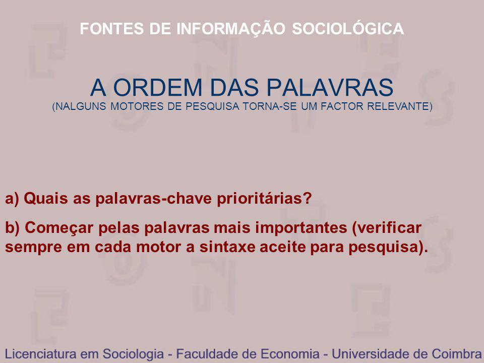 FONTES DE INFORMAÇÃO SOCIOLÓGICA a) Quais as palavras-chave prioritárias.