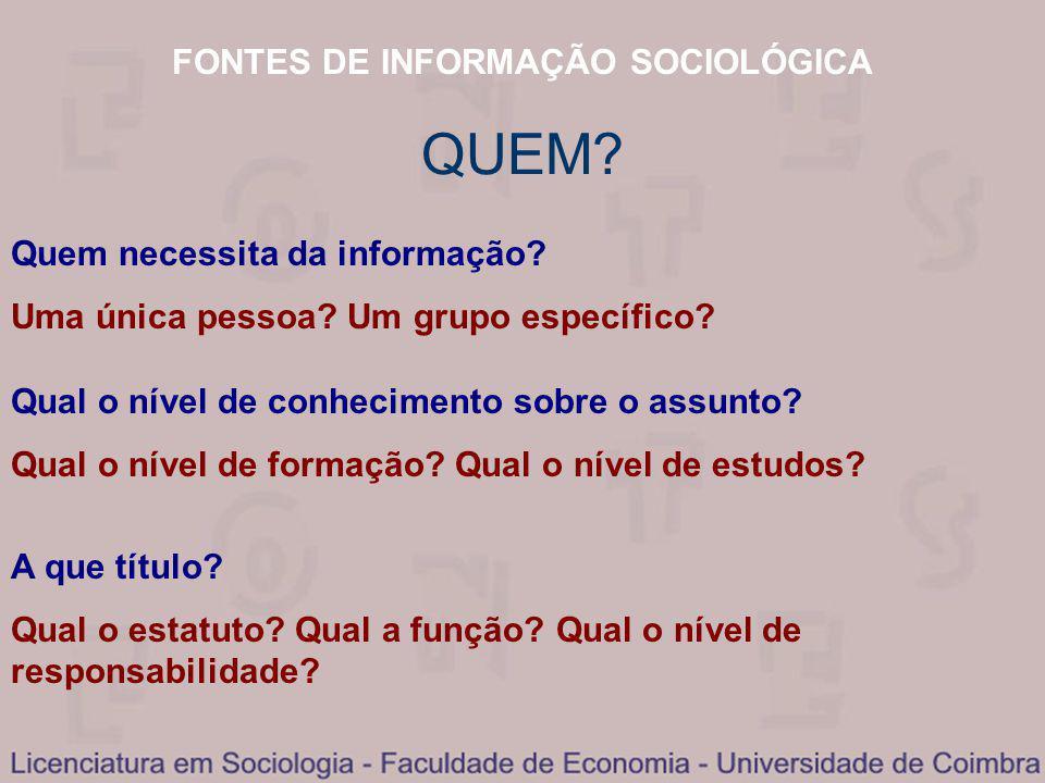 FONTES DE INFORMAÇÃO SOCIOLÓGICA QUEM. Quem necessita da informação.