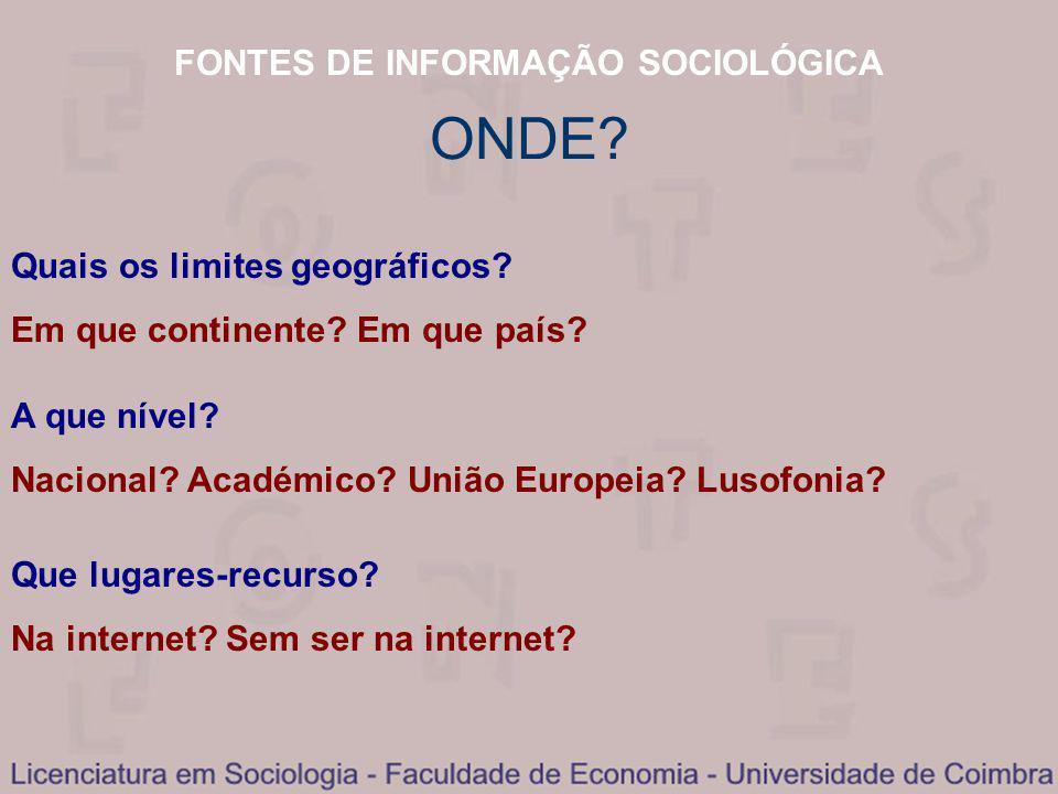 FONTES DE INFORMAÇÃO SOCIOLÓGICA Quais os limites geográficos.