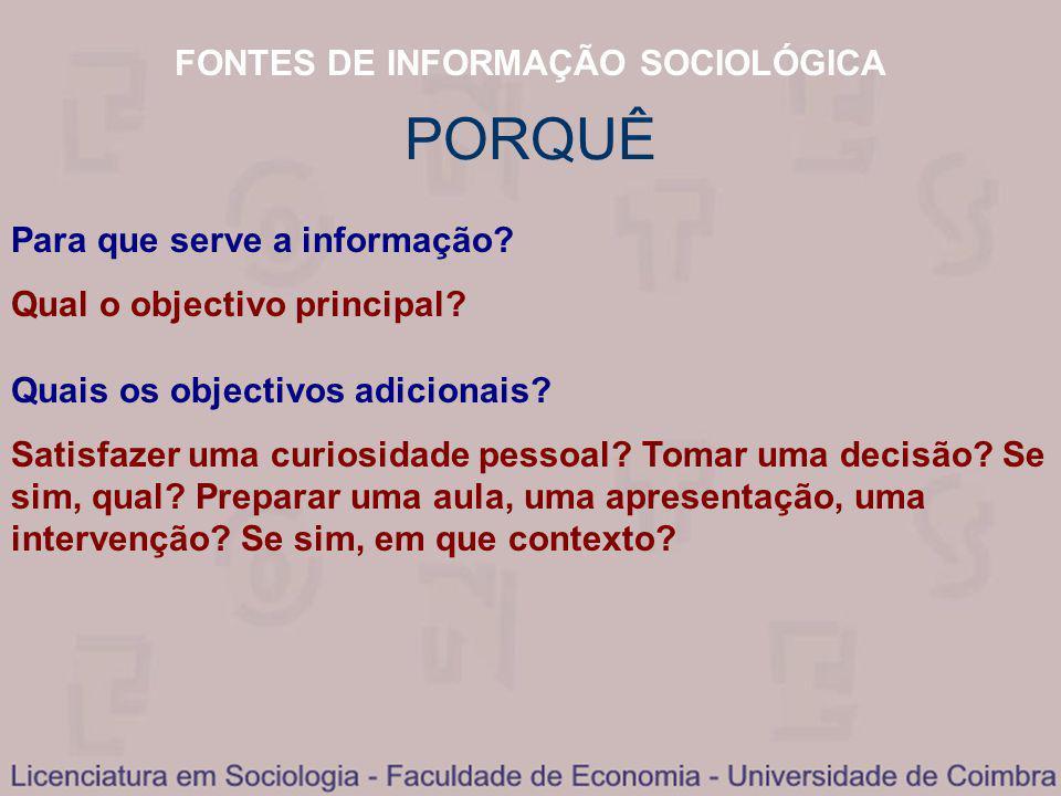 FONTES DE INFORMAÇÃO SOCIOLÓGICA PORQUÊ Para que serve a informação.