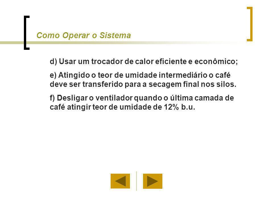 d) Usar um trocador de calor eficiente e econômico; e) Atingido o teor de umidade intermediário o café deve ser transferido para a secagem final nos s