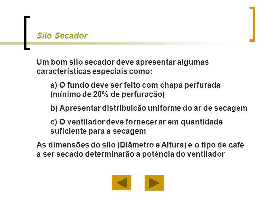 Silo Secador Um bom silo secador deve apresentar algumas características especiais como: a) O fundo deve ser feito com chapa perfurada (mínimo de 20%