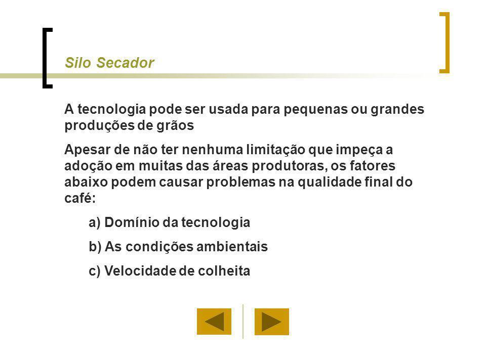 Uso do Silo Secador Devido ao potencial de secagem do ar ambiente e do pequeno aquecimento produzido pelo ventilador (2 a 3ºC), a técnica do silo secador pode ser usada em muitas áreas produtoras de café.