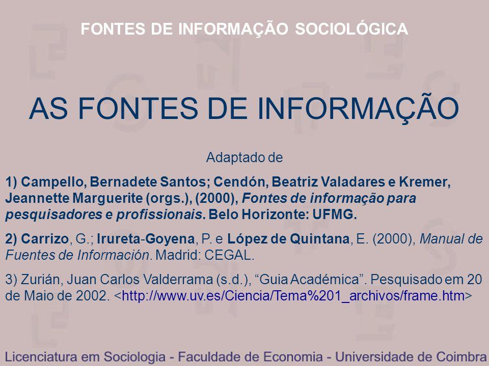 FONTES DE INFORMAÇÃO SOCIOLÓGICA AS FONTES DE INFORMAÇÃO Adaptado de 1) Campello, Bernadete Santos; Cendón, Beatriz Valadares e Kremer, Jeannette Marg