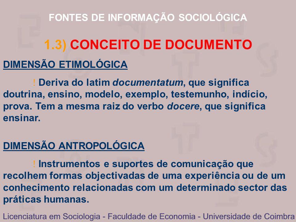 FONTES DE INFORMAÇÃO SOCIOLÓGICA DIMENSÃO ETIMOLÓGICA Deriva do latim documentatum, que significa doutrina, ensino, modelo, exemplo, testemunho, indíc