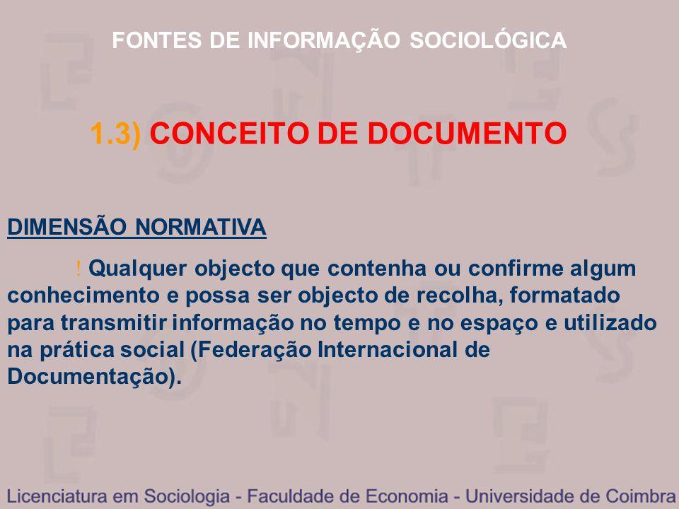 FONTES DE INFORMAÇÃO SOCIOLÓGICA 1.3) CONCEITO DE DOCUMENTO DIMENSÃO NORMATIVA Qualquer objecto que contenha ou confirme algum conhecimento e possa se