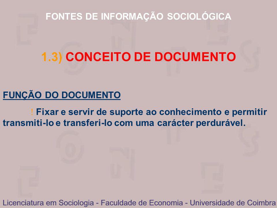 FONTES DE INFORMAÇÃO SOCIOLÓGICA 1.3) CONCEITO DE DOCUMENTO FUNÇÃO DO DOCUMENTO Fixar e servir de suporte ao conhecimento e permitir transmiti-lo e tr