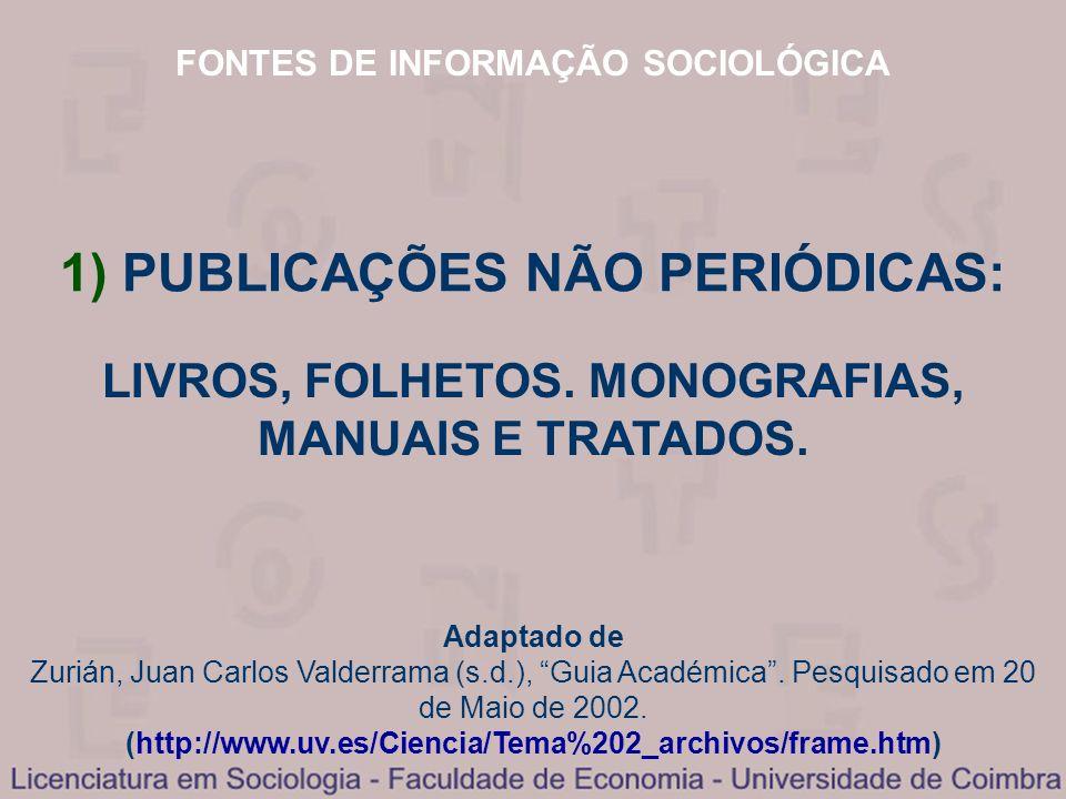 FONTES DE INFORMAÇÃO SOCIOLÓGICA Adaptado de Zurián, Juan Carlos Valderrama (s.d.), Guia Académica. Pesquisado em 20 de Maio de 2002. (http://www.uv.e