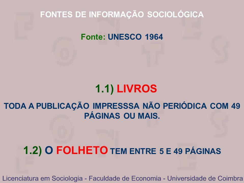 FONTES DE INFORMAÇÃO SOCIOLÓGICA 1.1) LIVROS TODA A PUBLICAÇÃO IMPRESSSA NÃO PERIÓDICA COM 49 PÁGINAS OU MAIS. 1.2) O FOLHETO TEM ENTRE 5 E 49 PÁGINAS