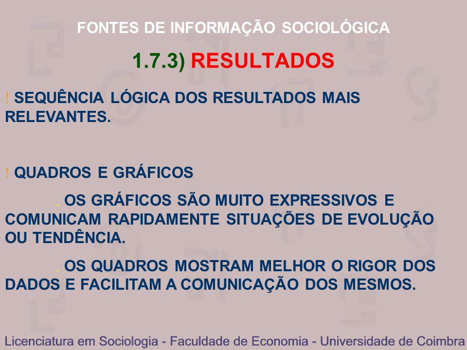 FONTES DE INFORMAÇÃO SOCIOLÓGICA 1.7.3) RESULTADOS SEQUÊNCIA LÓGICA DOS RESULTADOS MAIS RELEVANTES. QUADROS E GRÁFICOS OS GRÁFICOS SÃO MUITO EXPRESSIV