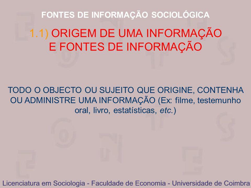 FONTES DE INFORMAÇÃO SOCIOLÓGICA 1.1) ORIGEM DE UMA INFORMAÇÃO E FONTES DE INFORMAÇÃO TODO O OBJECTO OU SUJEITO QUE ORIGINE, CONTENHA OU ADMINISTRE UM