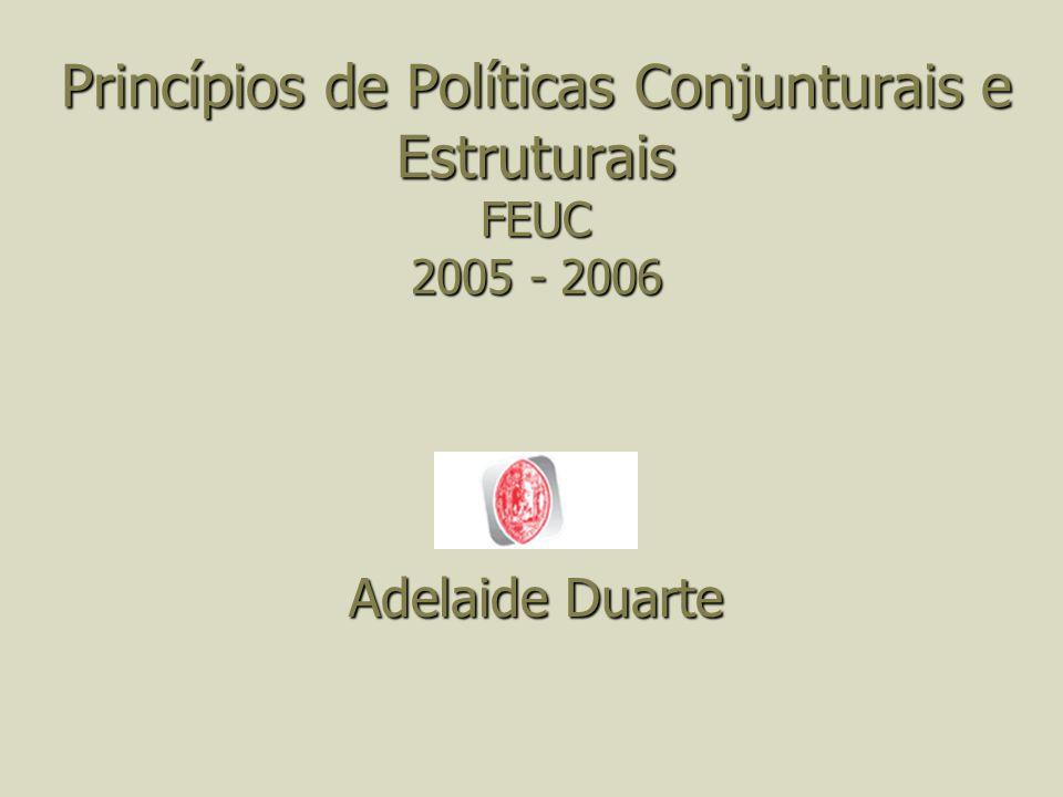 Princípios de Políticas Conjunturais e Estruturais FEUC 2005 - 2006 Adelaide Duarte